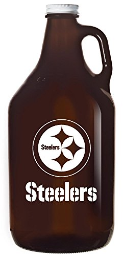 Pittsburgh Steelers NFL Football 64oz Amber Glass Beer Growler by Boelter