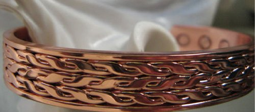 Men's Solid Copper 8 Inch Magnetic Cuff Bracelet #007