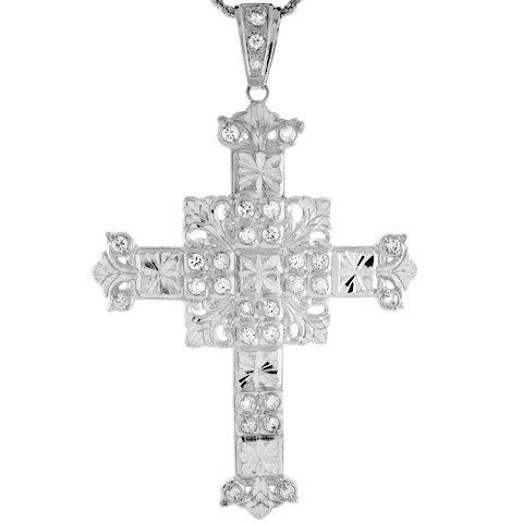 Sterling Silver 9.97cm Religious Diamond Cut CZ Unique Cross Pendant