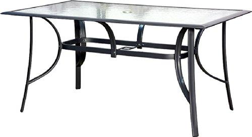 IB-Style - Gartentisch Aluminium silber, mit Sicherheitsglas schwarz | 2 Abmessungen | Gartenmöbel Garten Tisch - Abmessung 150 x 90 cm