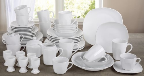 50 Piece White Square Dinner Set ***FREE DELIVERY***