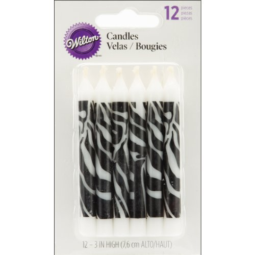 Wilton Zebra Print Candles, 12 Count - 1