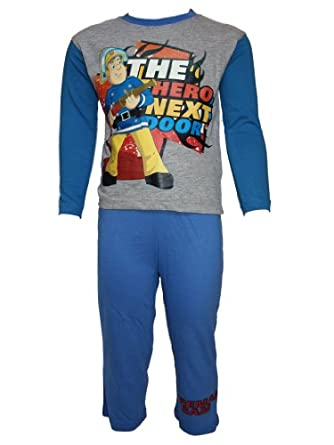 Fireman Sam Boys 2 Piece Pyjama Sets (6, Grey/Blue)