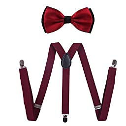 HDE Men\'s Pre-Tied Adjustable Bow Tie with Y-Back Clip Suspenders for Tux Wedding Prom Formal
