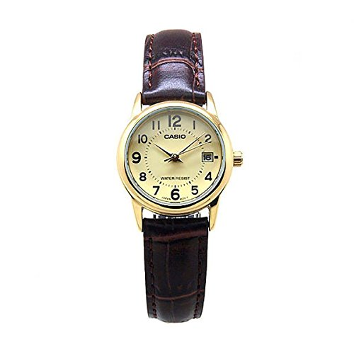 LADIES GOLD DIAL TRADITIONAL CASIO WATCH WITH BROWN LEATHER STRAP