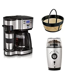 Hamilton Beach Two Way Brewer Single Serve and 12-cup Coffee Maker with 8-12 Cup Permanent Gold Tone Filter and Custom Hands-Free Coffee Grinder