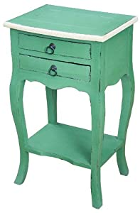 Sterling 6500503 Irvine Mahogany End Table with 2-Drawer, 27-Inch, French Green