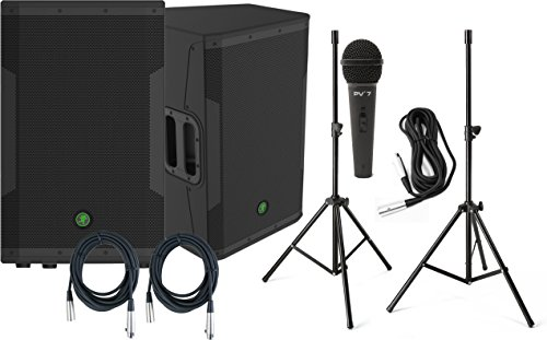 Pair Of Mackie Srm550 1600W Active 2-Way Live Speakers W/ Speaker Stands, Mic, And Xlr Cables