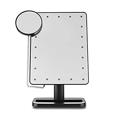 Best Cheap Deal for Ovonni 10X Magnifier LED Touch Screen Makeup Mirror Portable 20 LEDs Lighted Make-up Cosmetic Mirror Adjustable Vanity Tabletop (L208 Black) by Ovonni - Free 2 Day Shipping Available