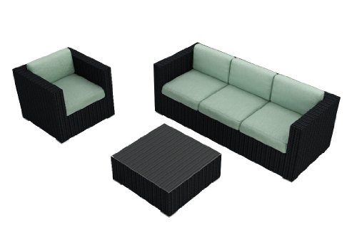 Harmonia Living Urbana 3 Piece Modern Outdoor Wicker Couch Set with Turquoise Sunbrella Cushions (SKU HL-URBN-3SS-SP) photo