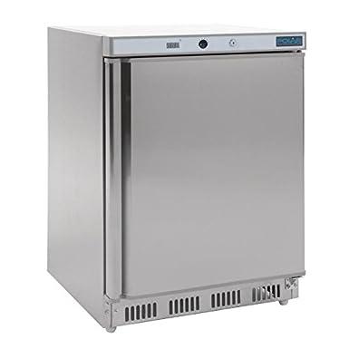Congélateur dessous de comptoir inox Polar Extérieur en acier inoxydable. 1 porte.