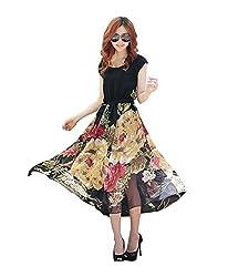 Navabi Export Women's Printed Dress (C-102049_Large_Black)