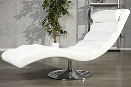 Designer relaxing chair White / Chrome Casa Padrino
