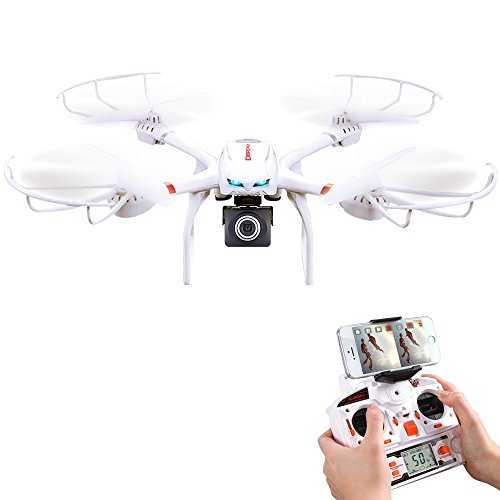 DBPOWER X101C FPV RC Drone with HD 720P Wifi Camera Quadcopter One Key Return Function and Headless Mode for IOS & Android, Compatible with 3D VR Headset