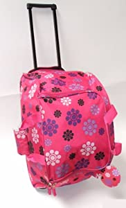 "22"" Wheeled Womens Maternity Bag, Ladies Sports Gym Holdall on Wheels PINK"