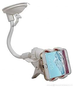 Jkobi Universal 360 Degree Flexible High Neck Dual Clip Car Mount Mobile Holder Stand Compitable For Motorola Moto X (3rd Gen) -White