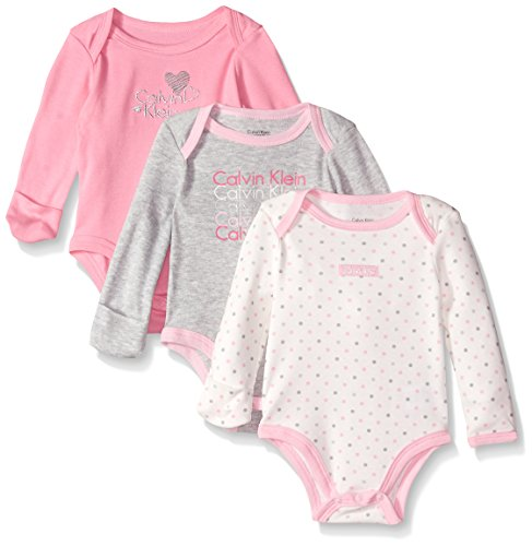 Calvin Klein Baby Girls' Assorted Long Sleeve Bodysuit, Pink/Gray, 0-3 Months (Pack of 3)