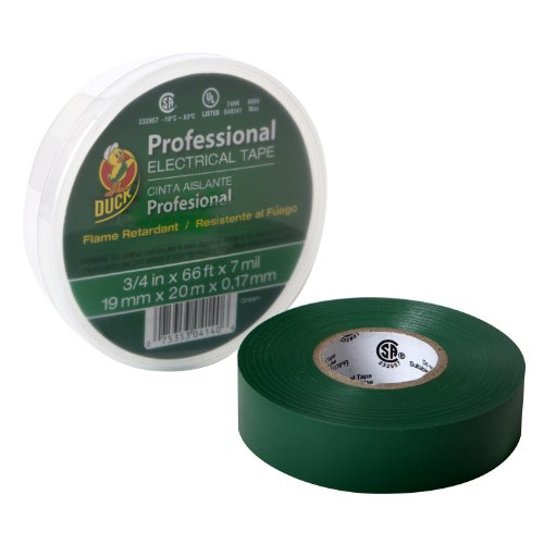 Duck Brand 299014 Pro 667 Series Electrical Tape, 3/4-Inch By 66 Feet, Single Roll, Green