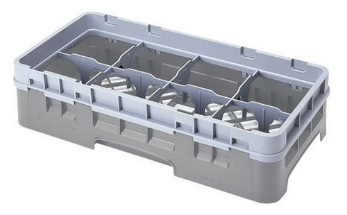 Cambro 8Hs318-151 3-5/8-Inch Camrack Polypropylene Stemware And Tumbler Glass Rack With 8 Compartments, Half Size, Soft Gray