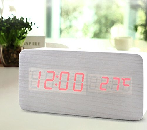 Amars(Tm) Wood Grain Led Alarm Clock Large Display Usb Cable With Time Temperature Date & Sound Control Cuboid Shape 9513