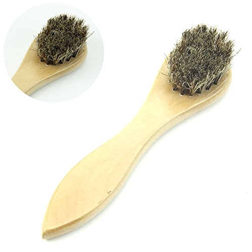 Small Wood Horse Hair Bristles Shoe Polish Buffing Brush Boot Care Clean Wax NEW