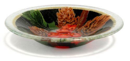 Peggy Karr Handcrafted Art Glass Pine Cones And Holly Bowl, Round, 9-Inch