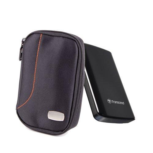 DURAGADGET's Black Durable Hard Drive Carry Case For Transcend StoreJet 25A3, Transcend StoreJet 25H3P, 25A2, 25H2P & Transcend StoreJet 25M2, With Additional Internal Storage Pocket