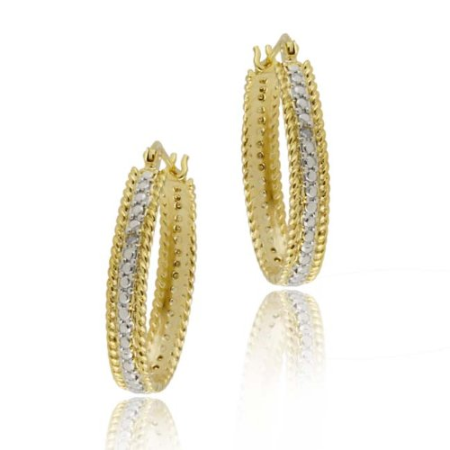 18K Gold over Sterling Silver Diamond Accent 25mm Oval Hoop Earrings