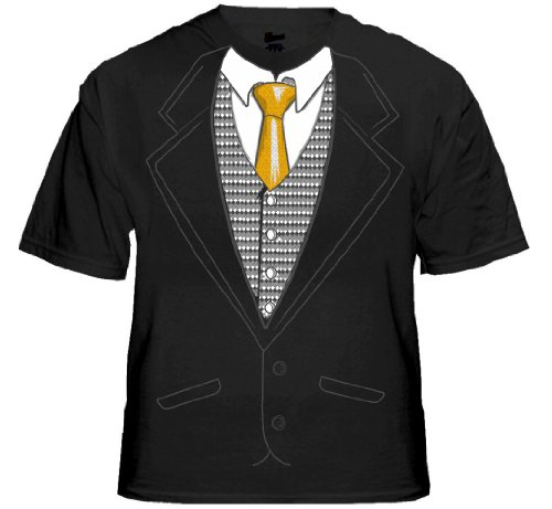 Mens Special Occasion Tuxedo Shirt with Gold Tie (Black) #13