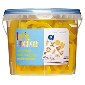 Alphabet and Number Cookie Cutters - Set of 36 in Tub