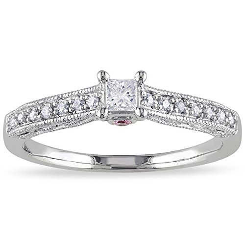 0.58 Carat Antique Engagement Ring on Sale with Princess cut Diamond on 14K White gold
