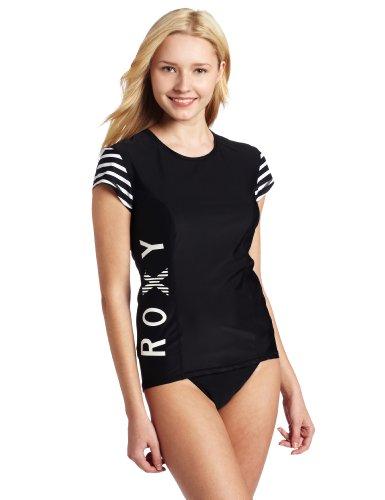 Roxy Juniors Short Sleeve Twisted Rashguard, Black, Medium
