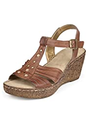 Footglove™ Original Leather Wide Fit Stud Ruched T-Bar Wedge Sandals