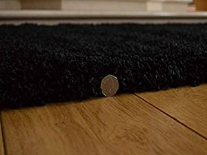 Soft Touch Shaggy Black Thick Luxurious Soft 5cm Dense Pile Rug. Available in 7 Sizes by Rugs Supermarket