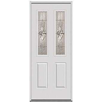 National door company erp692hmn26snrh steel heirloom master decorative glass in swing entry door for Exterior door replacement company