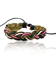 "ALPHA MAN ""Try Three At Time, Colours!"" Brown Thread-Woven Faux Leather Bracelet"