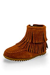 Twinkie Leather Double Fringe Ankle High Moccasins Brown Little Kid Size 12