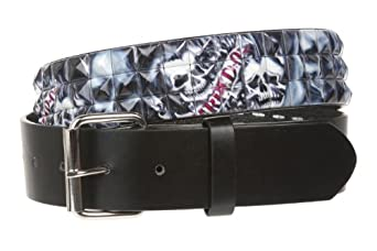 "Snap On 1 1/2"" Skulls Checkerboard Punk Rock Studded Belt Size: XL 42-44"