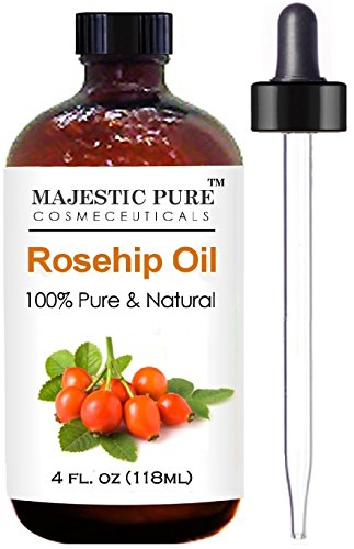 Rosehip Oil for Face, Nails, Hair and Skin From Majestic Pure - 100% Pure, Organic Cold Pressed Premium Rose Hip Seed Oil, 4 oz (Rosa Mosqueta Oil 100 Pure compare prices)