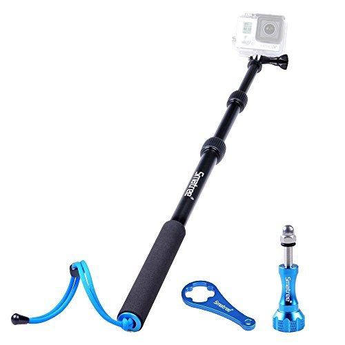 Smatree-SmaPole-S1-All-aluminum-Alloy-Handheld-Telescopic-Pole-158to-405-Integrated-with-Tripod-MountNut-for-GoPro-Hero-Hero4-Session-Hero4-BlackSilver-3-3-2-1-HD-Cameras-Aluminum-ThumbscrewWrench-Lif