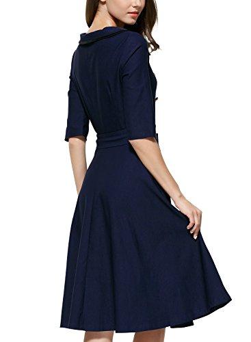 Miusol Women's 3/4 Sleeve Classy Casual Belted Vintage Retro Evening Swing Dress Navy Blue Medium