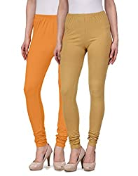 Desi Duos Women's Solid Cotton Leggings With Great Mustard Yellow & Beige Color