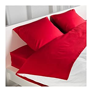 Amazon.com - Ikea Dvala Cotton Queen Sheet Set, Red - Pillowcase