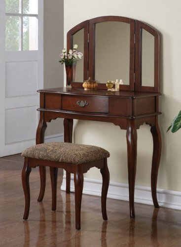 Inland Empire Furniture Kayla Cherry Solid Wood Vanity With Stool front-4717