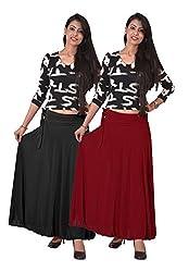 Ace Long Skirt-Meroon,Black