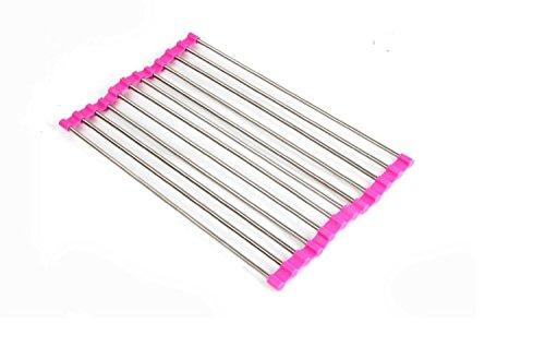 alisable Global enroulable Égouttoir Passoire égouttoir à vaisselle en acier inoxydable plateau 23* * * * * * * * 48cm, rose