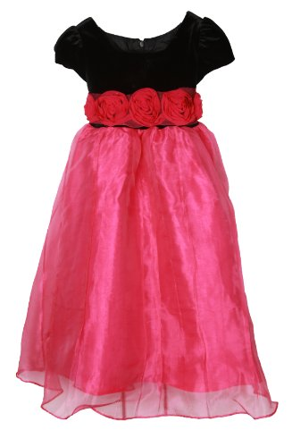 Richie House Girl'S Pink Dress With Black Velvet Top And Waist Roses Rh0544-5/6