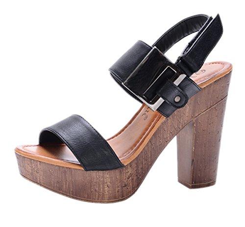 Nature Breeze Women's Maroon-01 Platform Slingback Wood Chunky High Heel Sandal,8 B(M) US,Black (Wood Platform Shoes compare prices)