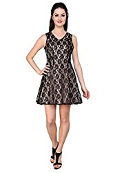 Tapyti Women's Crepe Shift Dress (TAP-LD-3087L_Beige Black_Large)