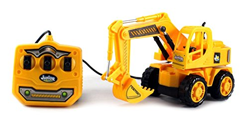 Junior Racers Construction Excavator Electric Rc Truck 6Ch Channel Functions Ready To Run Rtr, Excavator Arm Is Controllable Through Remote, Perfect For Kids Ages 3 And Up